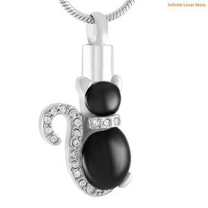 KLH8565-9 Crystal Pet Cat Kitty Cremation Memorial Collar Colgante Joyería-Al Por Mayor Pet Cat Keepaske Urn Ash Holder Jewelry