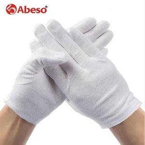 ABESO 2 pairs lot White 100% Cotton Ceremonial gloves for male female Serving   Waiters drivers Jewelry Gloves A6001