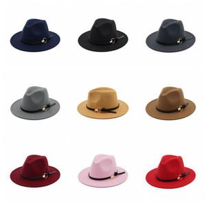 여성 겨울 양모 벨트 페도라 모자 넓은 고리 카우보이 모자 파나마 모자 트릴 비 모자 벨트 버클 밴드 모자