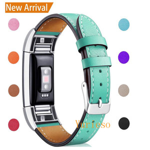 Hot sale For Fitbit Charge 2 Replacement Bands Classic Genuine Leather Wristband with Metal Connectors, Fitness Strap for Charge 2