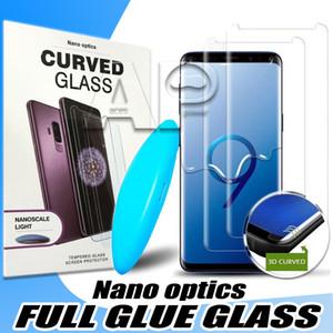 UV-gehärtetes Glas für Samsung Galaxy S20 Ultra-S10 Anmerkung 20 Pro 10 9 S8 Plus-11 Iphone Pro Max Voll flüssiger Klebstoff