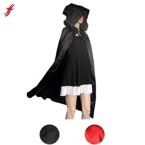 Mit Kapuze Mantel Mantel Wicca Robe mittelalterlichen Cape Schal Halloween Party S / M / L / XL FÜR Sexy Frauen Strandkleid Cover Up Schwarz Schal Frauen