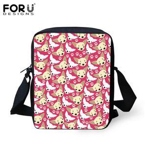 FORUDESIGNS Umhängetasche Schultasche Cartoon-Hunde-Kopf-Druck Schulranzen Messenger Bags für Kinder Frauen-Handtasche Mini Strandtasche