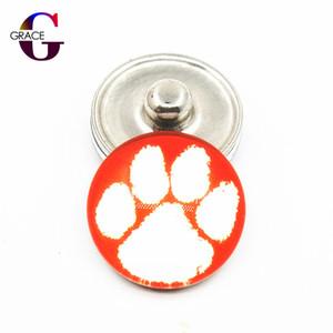20 unids / lote NCAA Clemson Tigres Equipo Sport Charms Botones de Ginger Glass Snap Fit 18mm Snap Mujeres Pulsera Colgantes Collar Colgante de Joyería DIY