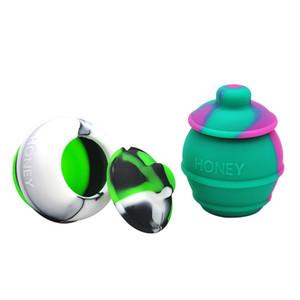 Haute Qualité Crâne Forme Wax Container Jars Boîte De Conteneur Silicone Container Pour Huile Crumble Honey Wax Outils Pots Dab Wax Dab vaporisateur