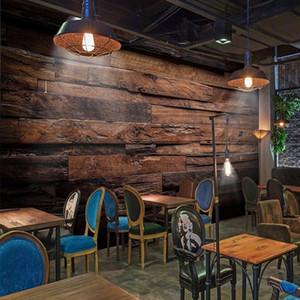 Papier Peint Personnalisé Grande Peinture Murale Rétro Nostalgique Bois Panneaux Bois Grain Murale De Parede 3D Papier Peint Pour Murs