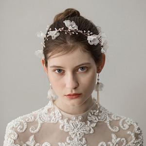2018 Romantique Accessoires De Mariage De Mariage 3D Fleur Cristal Perle Strass Pins Pins Clips Femmes Cheveux Bijoux avec Boucles D'oreilles Deux Set CPA1427