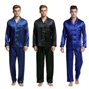TonyCandice Männer Fleck Seide Pyjama Set Men Pyjamas Silk Nachtwäsche Herren Sexy Modern Style Soft-Cozy Satin Nightgownsommer