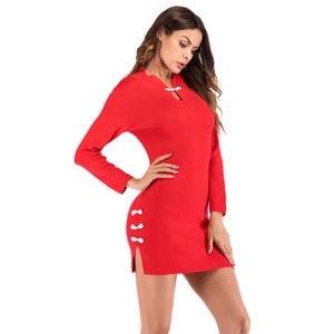중국어 QIPAO 여성 가을 파티 정장 뜨개질 Split Up Bodycon Dresses Vogue Dress