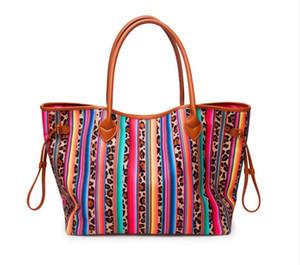 Frauen Big Leopard Serape Schultertasche Großhandel Blanks Farbstreifen-Handtasche Casual Weibliche Tasche Trunk Tote