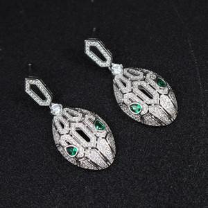 Zirkonia-Schlangen-Ohrring für Mädchen 2018 Neue Art- und Weisemarken-Schmucksache-Silber überzogene Luxusfrauen, die Ohr-Bolzen Weddings Wedding sind