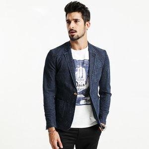 2018 Autunno Denim Blazers Uomo Slim Fit Cotton Dark Wash Bianco Dot Abiti Casual Moda Cappotti Abbigliamento di marca