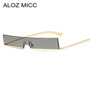 ALOZ MICC 2019 새로운 여성 광장 선글라스 패션 메탈 하프 프레임 고글 태양 안경 여성 섹시한 그늘 안경 UV400 A643