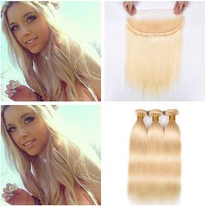 Blonde Virgin Hair 3Bundles con Full Lace Frontal Straight 613 Blonde 13x4 Lace Frontal Frontal con tejidos Tramas brasileñas de cabello humano