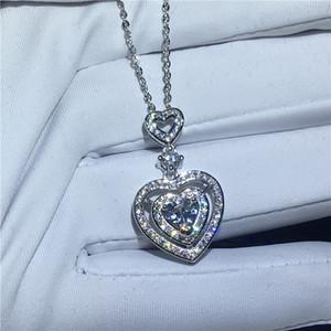 Romantische 925 Sterling Silber Doppel Herz Anhänger Hohe Qualität Weiß Topaz Cz Kette Halskette Für Brautmode Schmuck Geschenk P003