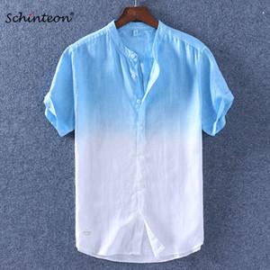 Schinteon 2018 Degrade Erkekler Kısa Kollu Gömlek Yaz Pamuk Keten Ince Standı Yaka Rahat Gömlek