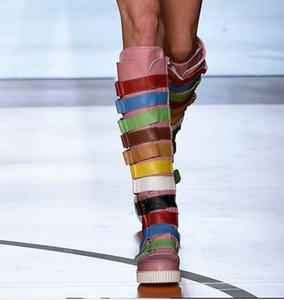 2018 New Rome Gladiator Knee HIgh Zip Mujeres Botas Redondo dedo del pie Mixto Color Mujeres Pisos Zapatos