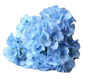 gran pétalo azul hydrangea flor artificial para wed decoración flor de seda azul para flor de la pared wed ramo nupcial del ramo
