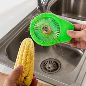 Cepillos de plástico prácticos de maíz Cepillo manual de limpieza de ahorro de trabajo para la cocina casera Cocción de verduras de frutas Herramientas Durable 3 9mg BB
