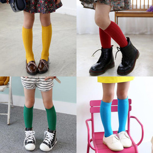 Kız Erkek Çocuk Güzel Diz Yüksek Çorap Bahar Sonbahar Popüler pamuk Düz Renk Rahat Rahat Kış Çocuklar Uzun Çorap C366 10 Pairs