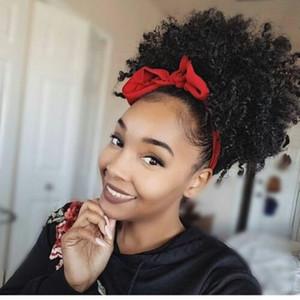 Клип в природных хвостики расширения Afro drawstring хвост кудрявый вьющиеся хвостик 120 г короткие высокий хвост волос штук для черных женщин