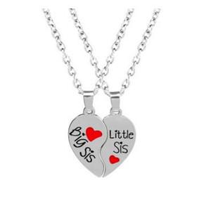 Big Sis Little Sis Collier 2 partie coeur brisé pendentif meilleur ami Sister amis croire bijoux inspirés pour les femmes cadeau 20 ensembles