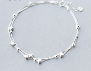 women's Wholesale Authentic 925 Sterling Silver Double Layers Star &Beads Anklet Bracelet Fine jewelry S275 C18110801