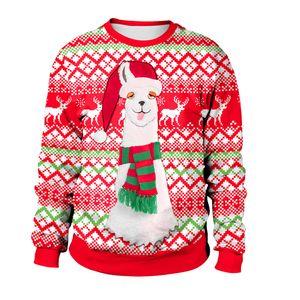 Ugly Coppie di Natale Alpaca Streetwear invernali del manicotto lungo Sweetheart Felpe unisex divertenti maglioni per Wome della novità di natale Lover cappuccio