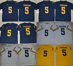 Mens Michigan Wolverines 5 Jabrill Peppers Футбольные майки колледжа Дешевые Blue Jabrill Peppers Сшитые элитные футболки S-XXXL