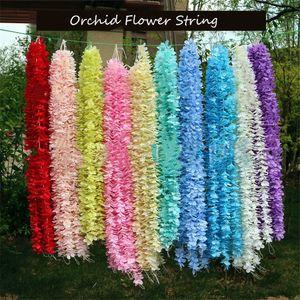 Artificial Flower Vine Orchids Flower String Handmade Hanging Garland Wedding Party Home Wall DIY Decoration Crafts Supplies
