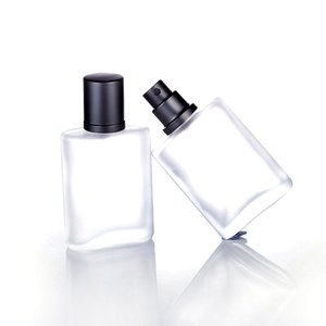 30ml 50pcs / lot Argento Grigio Cap Flat Style Glassato Semi Clear Glass Spray bottiglia di profumo Automizer Glass Spray Bottle