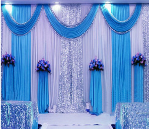 3 * 6m sequin wedding backward start with swag backward/ wedding decoration romancial Ice stage stage clear