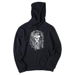 COOLMIND QI0124H cotton blend black cool lion print men hoodies sweatshirt casual fleece loose fashion mens hoodies hat male