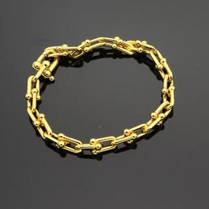Sıcak marka u-tipi titanyum çelik bilezik 18 K altın gül gümüş bilezik ile gelişmiş hediye seti hediyeler için uygun