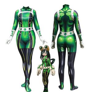 Halloween My Hero Academia Asui Tsuyu Mujeres Adulto Mujer Niños Cosplay Disfraz Zentai Jumpsuit Body Catsuit