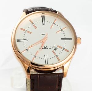 أزياء العلامة التجارية رو رجال جلدية حزام الكوارتز التاريخ التقويم ساعة اليد R3696