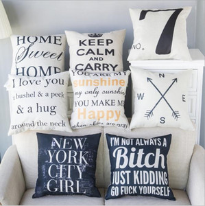 Baumwolle Leinen Platz dekorative Dekokissen Fall Kissenbezug mit Reißverschluss Home Sweet Home 45 x 45 cm CNY144