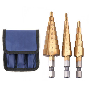 3pcs HSS Steel Titanium Step Drill Bits Set Step Herramientas de corte de cono Brocas de acero Woodworking Madera Metal Billing Set