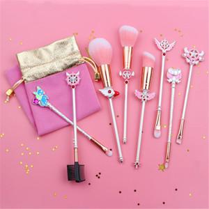 8 pçs / set Metal Maquiagem Pincéis de Maquiagem Sailor Moon Cosméticos Maquiagem Escova Kit Pincel Maquiagem Brushes Ferramentas Eye Liner Sombra Sobrancelha Maquiagem escova