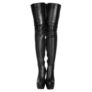 Soft Black Pu Thigh High Boots For Women High Heels Thick Platform Shoes 2018 Fenty Make Up Crossdresser Round Toes Long Boots Diy Colors