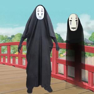 Hiçbir Yüz Adam Ruhların Kaçışı Cosplay Kostüm Cadılar Bayramı Kostüm Maske eldiven ile Anime Miyazaki Hayao Faceless Pelerin set