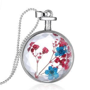Chic Transparent Crystal Floating Getrocknete Rot Blau Blume Pflanze Anhänger Charm Medaillon Halskette für Frauen Pullover Kette Schmuck