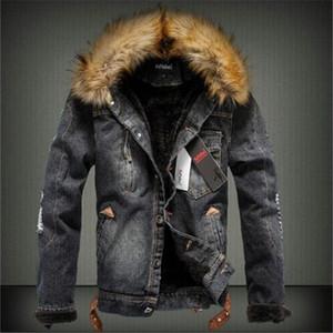 Мужской зимний с добавлением тепла, чтобы согреться. Толстый толстый воротник из джинсовой куртки / для мужчин Slim Fit Pure Color Повседневная куртка