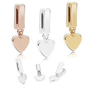 2018 Automne 925 Sterling Silver Jewelry Reflections Floating Heart Clips Charme Perles Convient Bracelets Collier Pour Femmes Bijoux