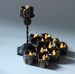 Halloween Black Flameless Candles Flash LED Batterie Alimenté par des bougies pour Halloween Festival Party Décoration 12 pcs