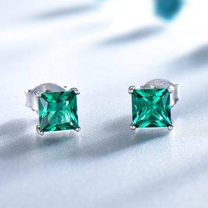 UMCHO 100% 925 Sterling Silver Esmeralda Brincos para As Mulheres Princesa-corte de Pedras Preciosas De Maio Birthstone Moda Coréia Brincos
