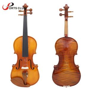 전체 크기 4/4 바이올린 바이올린 천연 어쿠스틱 바이올린 솔리드 우드 스프루스 플레임 메이플 베니어 대추 목제 케이스 로진 와이퍼