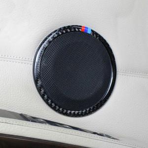 Fibra De carbono Estilo Do Carro Orador de Áudio Círculo Decorativo Adesivo Porta Do Carro Altifalante Guarnição Tampa Para BMW Série 3 X1 E90 E84 Acessórios
