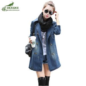 Autunno nuovo denim giacca a vento cappotto donne giacca lunga casual femminile selvaggio moda high-end grandi cantieri top OKXGNZ AF482