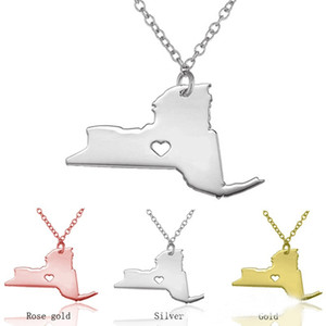 New York US State Map Pendant Stainless Steel Necklace